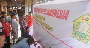 Dukungan terhadap Aceh-Sumut sebagai tuan rumah PON XXI dimulai dari Kilometer Nol, Sabang, ditandai dengan penandatanganan deklarasi 31 KONI se Indonesia. (Foto/Aldin NL)