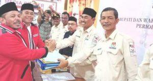 Calon Bupati dan Wakil Bupati Pidie Jaya petahana, Aiyub Abbas - Said Mulyadi (baju merah), meraih suara di atas 50 persen berdasarkan real count KPU. (Foto/Ist)