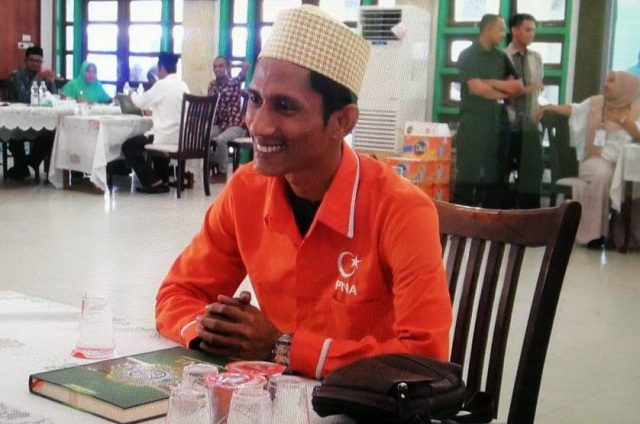 Bergek saat diuji tes baca Quran di Asrama Haji Banda Aceh, Kamis (19/7/2018). (Foto/Dani Randi)