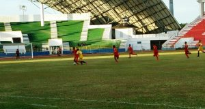 Pertandingan tim Aceh melawan Muba di pertandingan akhir penyisihan grup A sebelumnya, Aceh menang 2 -1 dan melangkah ke perempat final, Sabtu (21/7/2018). (Foto/Ist)