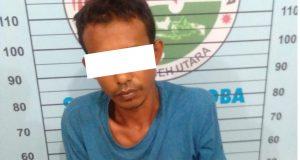 Tersangka RW,36, warga Cot Meurbo, Kecamatan Kuta Makmur, Aceh Utara, dilumpuhkan polisi. (Foto/Zainal Abidin)