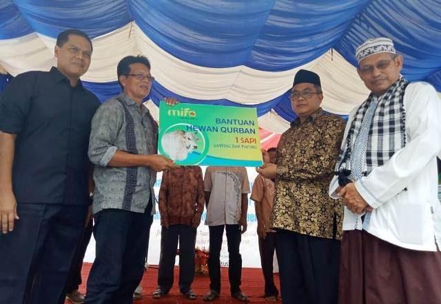 Bupati Aceh Barat H Ramli MS menyerahkan secara simbolis salah satu hewan ternak qurban yang disalurkan PT Mifa Bersaudara kepada warga di sekitar operasional perusahaan, dipusatkan di kawasan Peunaga Cut Ujong, Kecamatan Meureubo, Kamis siang (16/8/2018). (Foto/Dedi Iskandar).