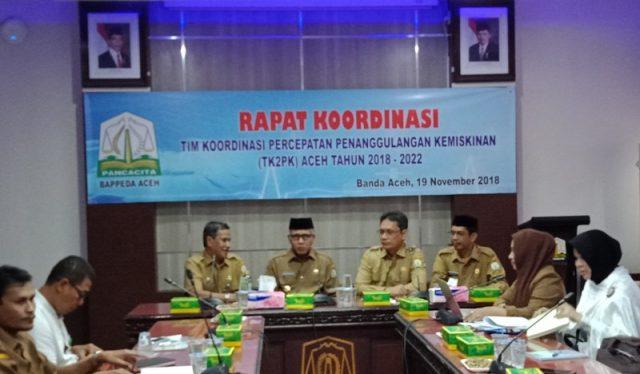 Plt Gubernur Aceh, Nova Iriansyah, dalam rapat kerja TKP2K Aceh yang berlangsung di kantor Bappeda Aceh. (Foto/Ist)