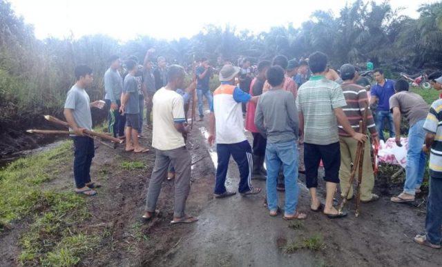 Aksi masyarakat Desa Cot Mee di area lahan sengketa. (Foto/Ist)