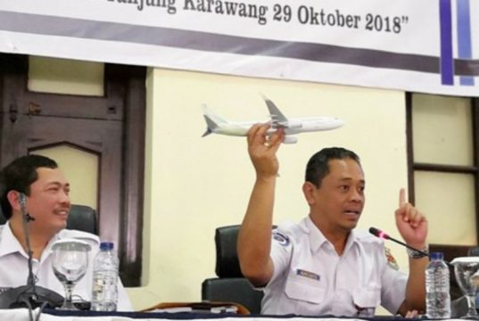Kepala Sub Komite Penerbangan KNKT, Kapten Nur Cahyo Utomo, saat memberi keterangan pers pada Rabu (28/11/2018). Hari ini KNKT mengklarifikasi keterangan sebelumnya. (Foto/Ist)