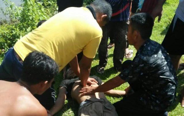 Setelah dilakukan pencarian degan cara menyelam di TKP, korban ditemukan dalam kondisi kritis. (Foto/Ist)