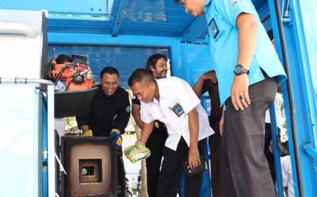 Pemusnahan sabu oleh BNNP menggunakan alat incinerator. (Foto/Ist)