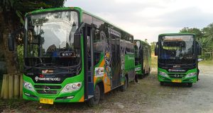 Bus Trans Metro Deli yang diprotes FORMAD karena desainnya menggunakan motif gorga Batak, bukan Melayu Deli. (Foto/ist)